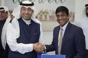 Mishal Al Hokair holds the award for the Best Sport/Adventure-based Entertainment for SkyZone at Al Khobar, Saudi Arabia, with members of his management team