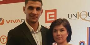 Olympian Ivaylo Ivanov (left) with Eurofootball's Ekaterina Tonova