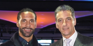 Rio Ferdinand with Novomatic CEO Harald Neumann at the launch of Football Gladiators